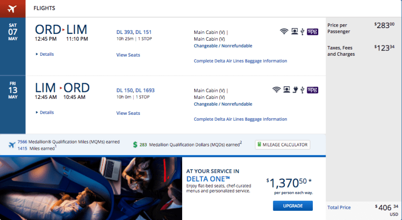Chicago (ORD) to Lima, Peru (LIM) for $406 on Delta.