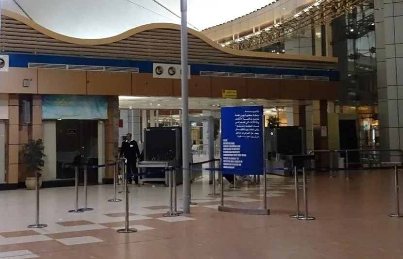 The screening area inside. I was the first to arrive for my flight.