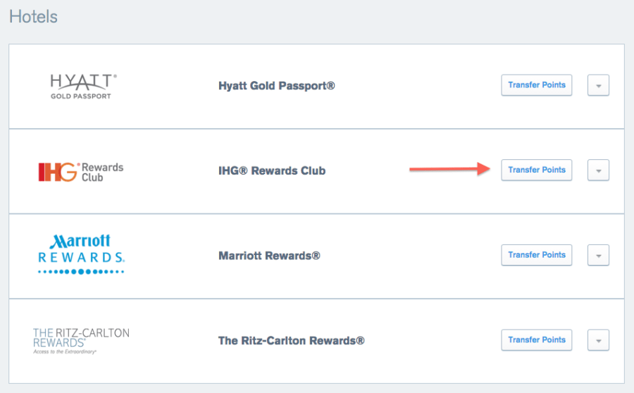 Transferring Ultimate Rewards Points to IHG