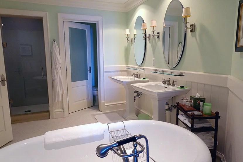 The spacious bathroom featured a standalone tub.