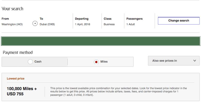 Emirates IAD DXB business