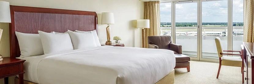 Some rooms at the Hyatt Regency Orlando International Airport offer views of the runway.