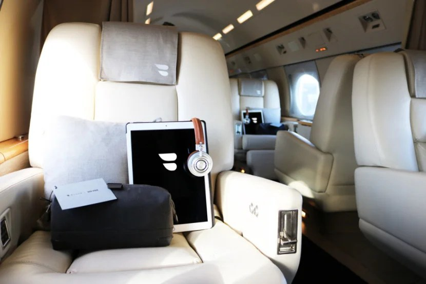 The interior of BLADE's jet.