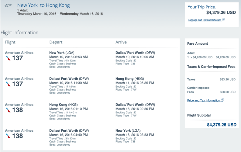 New York to Hong Kong for $ in business class.