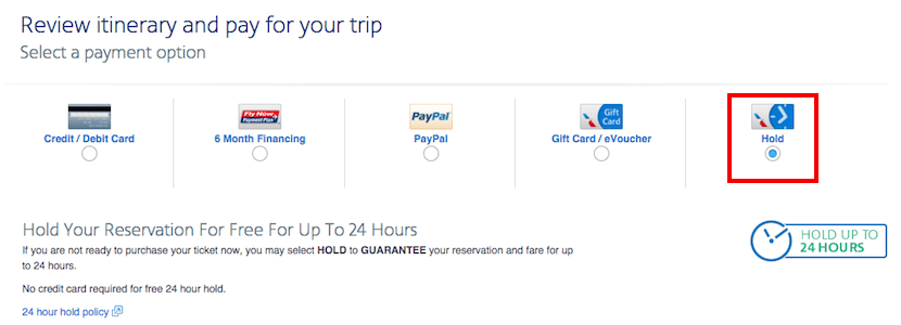 American Airlines allows you a free hold for 24 hours, instead of the ability to cancel for free after payment.
