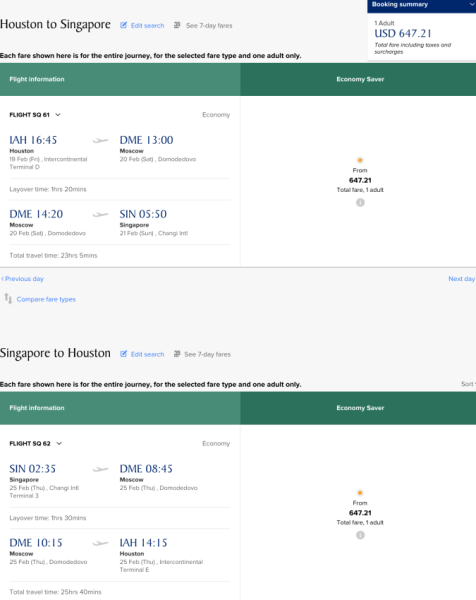 Houston to Singapore on Singapore for $649.