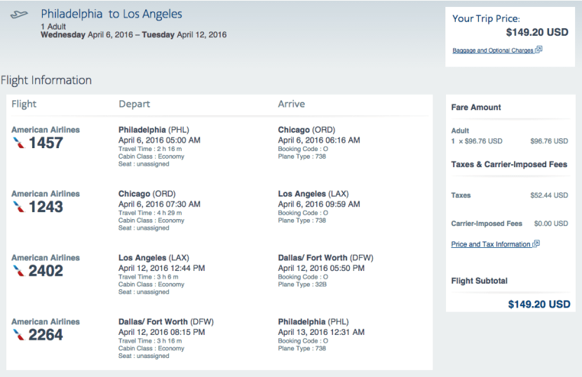 Philadelphia (PHL) to Los Angeles (LAX) for $149 round-trip on American Airlines.