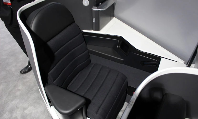 Seen at the Aircraft Interiors Expo in Hamburg in 2015, these new Virgin Australia seats will (eventually) be the best transpacific product. Photo - John Walton.