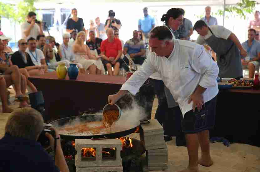 Jose Andre preparing the wonderful lobster paella.