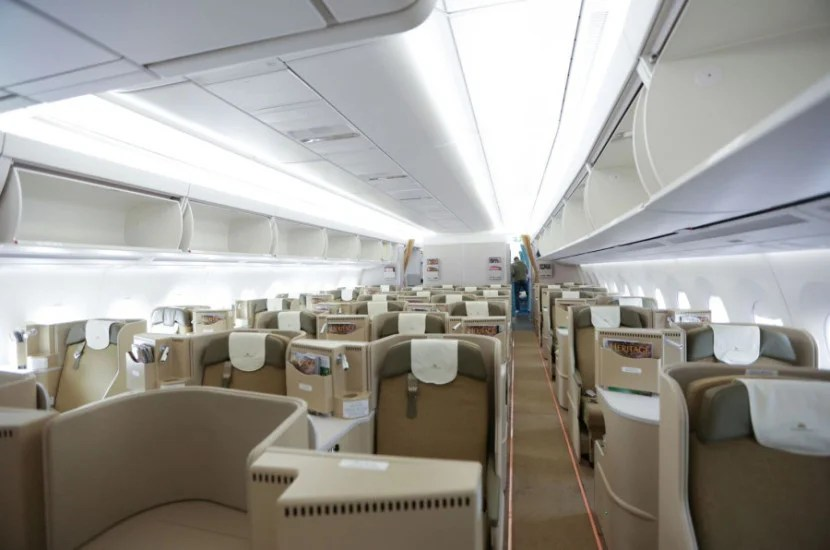 I retreated back to the business-class cabin after seeing how cramped economy looked.