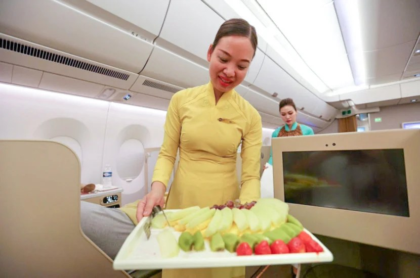 Flight attendants came around the cabin with fresh fruit.
