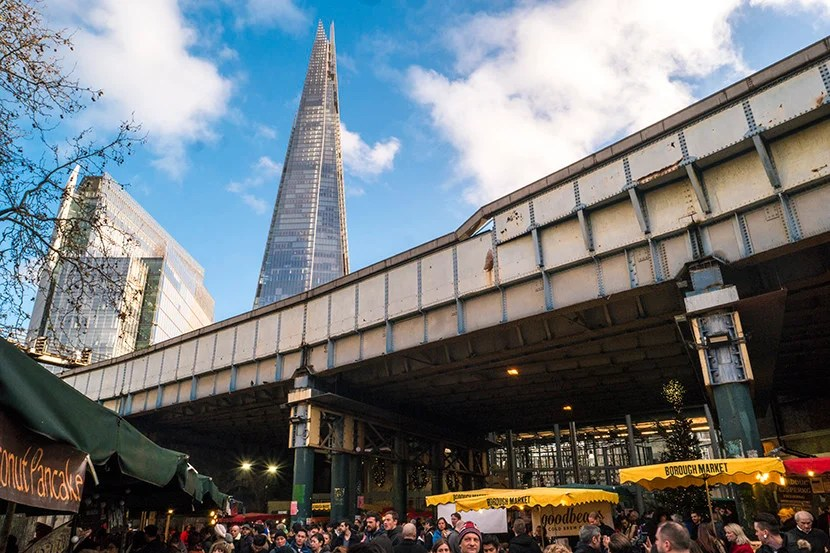 The Shard looms pointedly over London's Borough Market. Image courtesy of Kofi Lee-Berman.