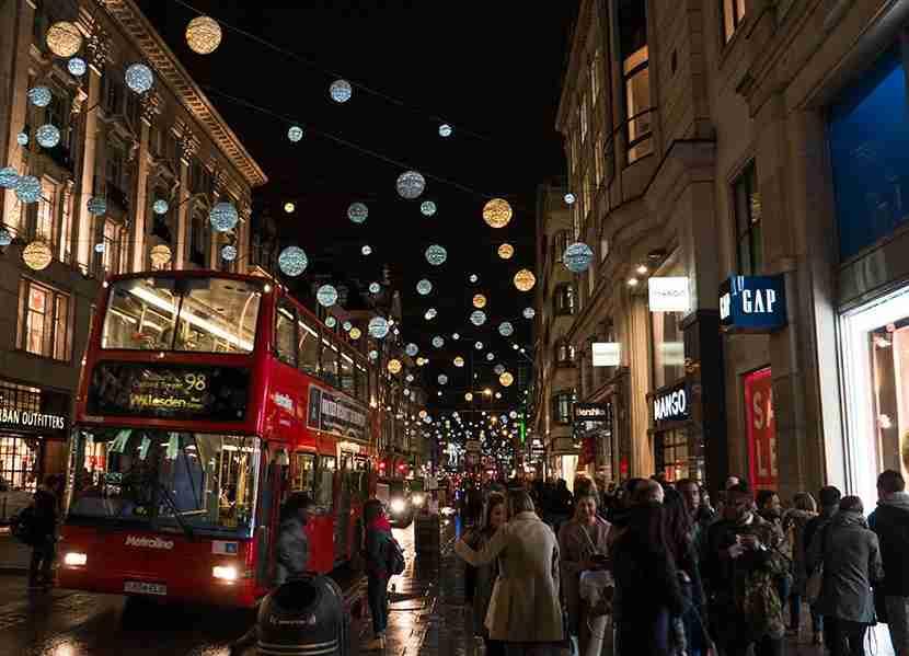 Decorative lights along Oxford Streetduring the holidays. Image courtesy of Mitch Berman and Kofi Lee-Berman.