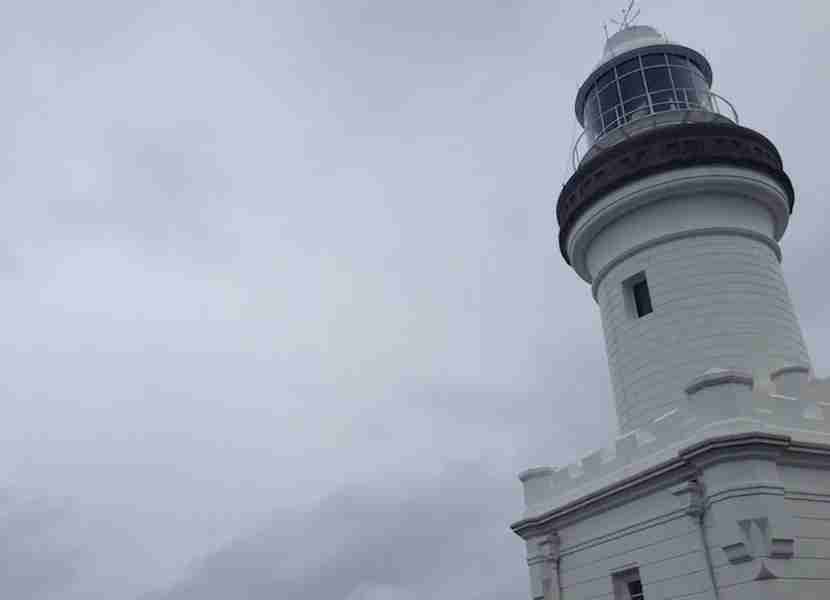 The Cape Byron Lighthouse on a stormy day.