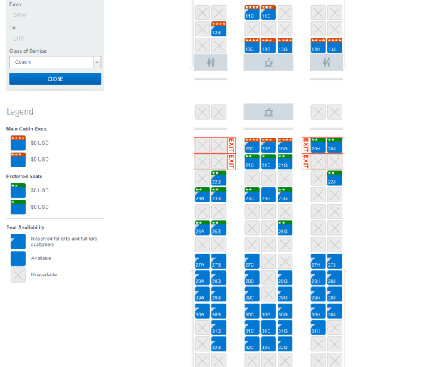 The same exact flight seat map at the exact same time, as shown to an AA Platinum.