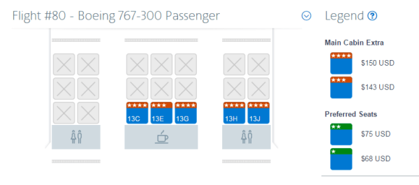Cost for ageneral traveler to choose Main Cabin Extra seats for a flight from Dallas (DFW) to London (LHR).