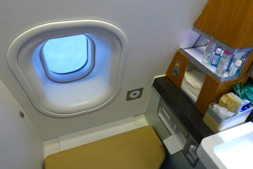 Most first-class lavatories have windows, regardless of the aircraft you're flying.