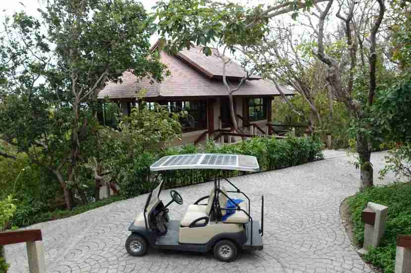Our personal golf cart, parked outside the resort