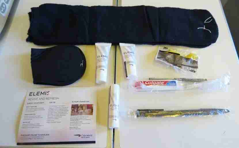 My unpacked Elemis Club World amenity kit.