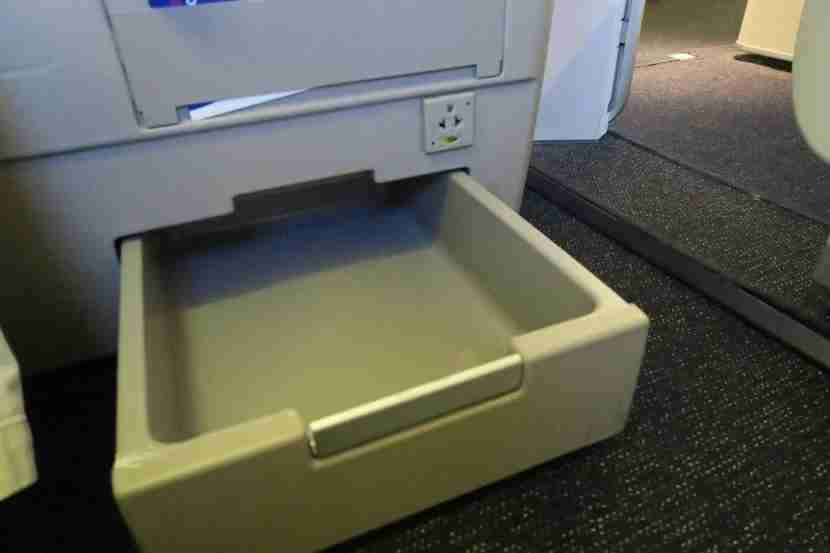 The under-seat storage bin was especially useful for storing charging electronics.