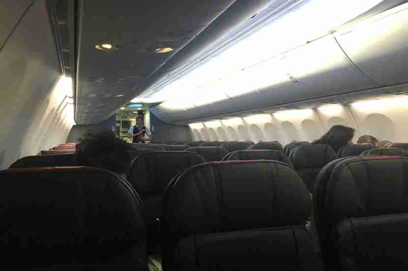 The plane was nearly empty — this picture was taken after boarding was complete and everyone was in their seats.
