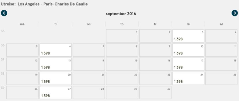 During the same period, flights start at 1,398 NOK ($163).