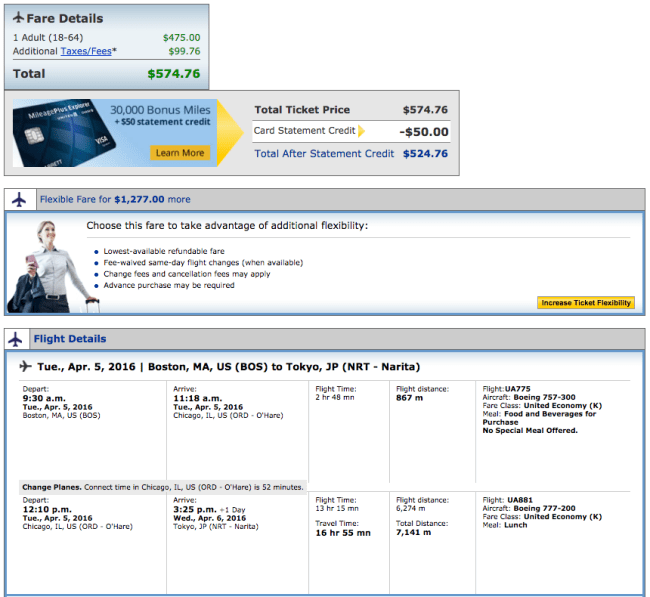 Boston (BOS) to Tokyo (NRT) for $575 on United.