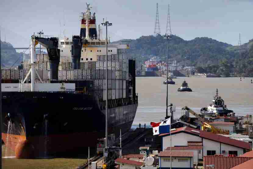 Aship approaches the Miraflores locksof the Panama Canal.