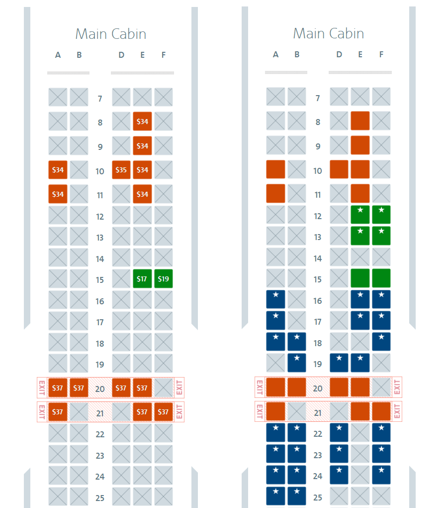 The seat maps for general (left) and elite members (right) for the same flight four days before departure.