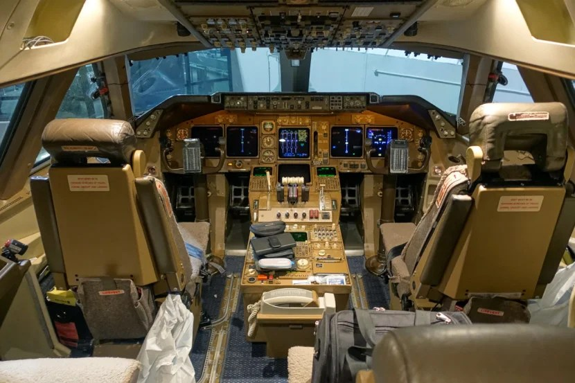 Inside the 747 cockpit.