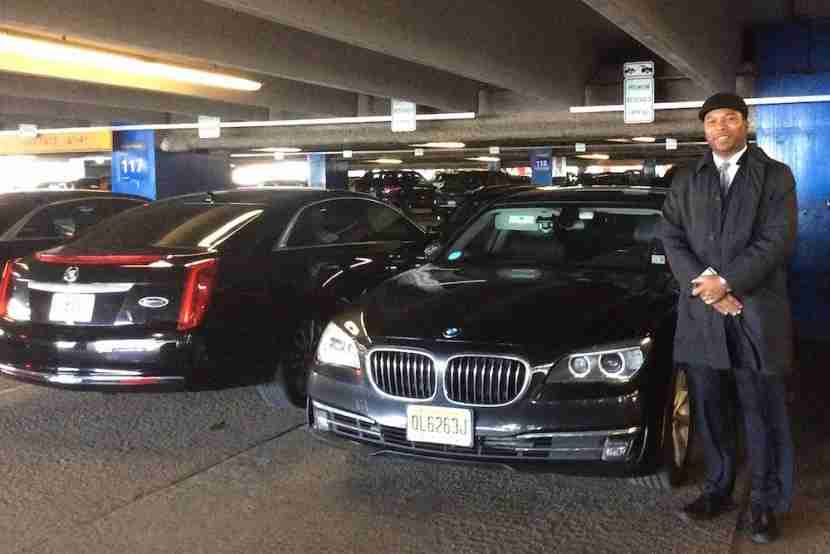 Arnaldo, my Etihad chauffeur, and his BMW 7 series.