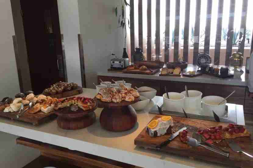 The pastry section of the continental breakfast buffet in the club lounge.