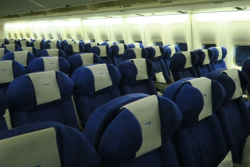 Seating in the World Traveller cabin, which is mostly a 3-4-3 configuration.