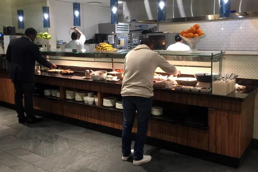SFO Centurion Lounge breakfast buffet.