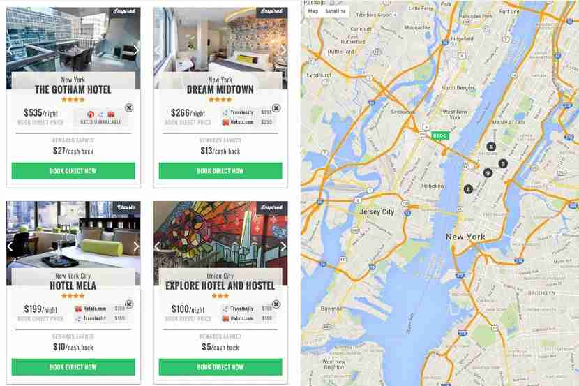 NYC hotel listings on The Guestbook, with some offering better price deals than others.