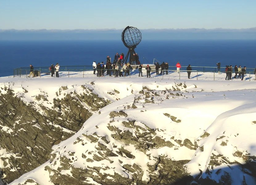 In Honningsvåg, the North Cape's iconic iron globe marks the northernmost point of continental Europe.