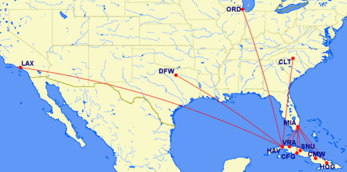 American's proposed Cuba routes.