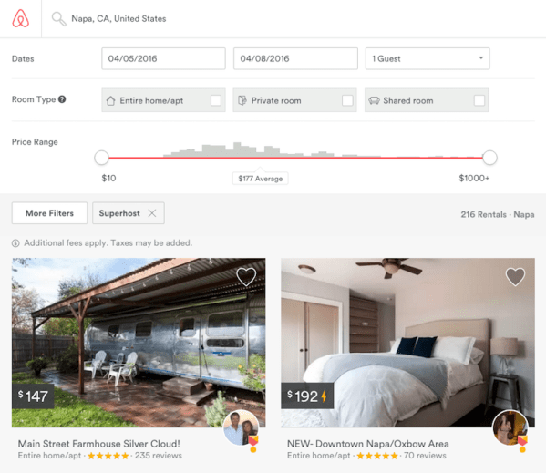 After you filter for the superhost setting, search results will appear for only those listings.