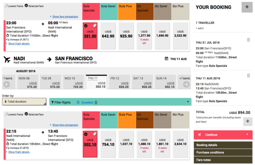 San Francisco (SFO) to Nadi, Fiji (NAN) for $894 on Fiji Airways.