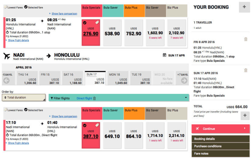 Honolulu (HNL) to Nadi, Fiji (NAN) for $794 on Fiji Airways.