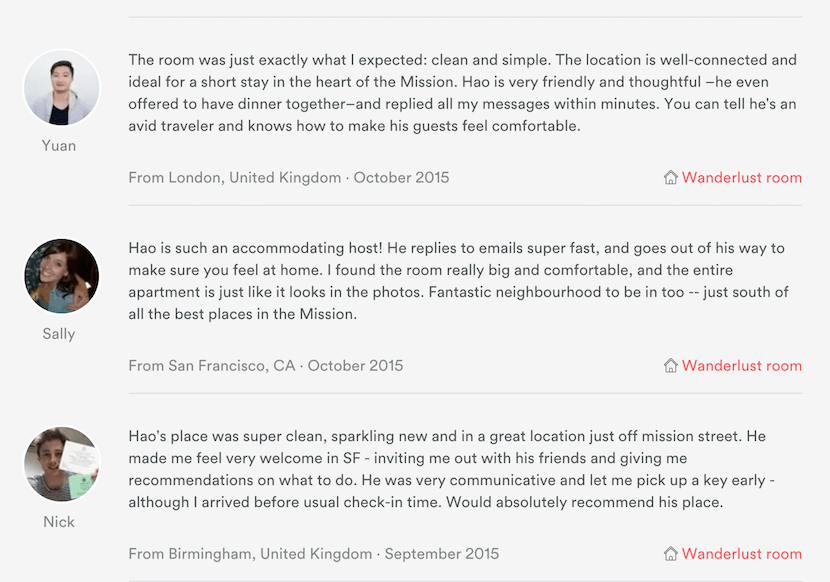 Always read through the user-generated reviews before booking.