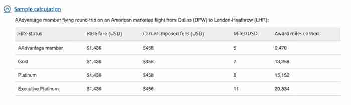 A sample calculation for earning redeemable miles under American