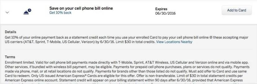 Save 10% on your cell phone bill with Amex Offers.