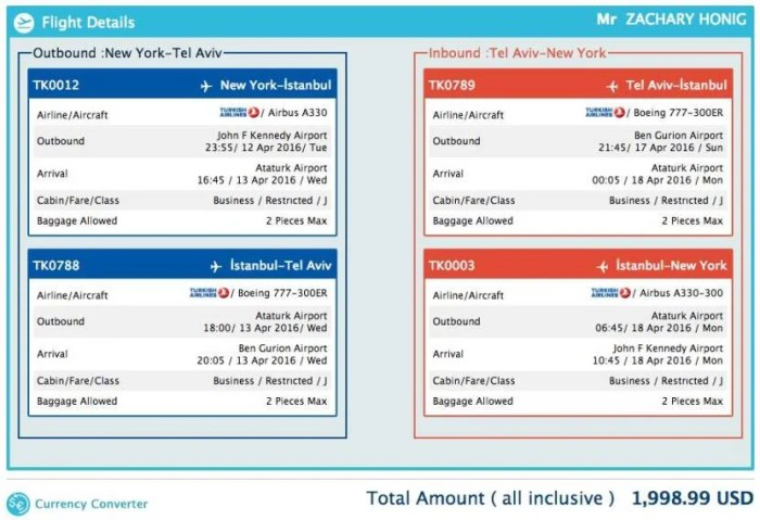 New York (JFK) to Tel Aviv (TLV) for $1,999 in Turkish business class.