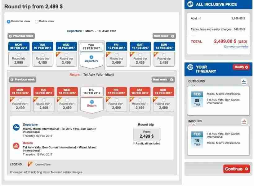Miami (MIA) to Tel Aviv (TLV) for $2,499 in Turkish business class.