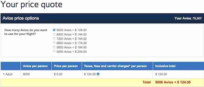 Avios Cash options