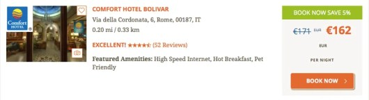 The cash price for the Hotel Bolivar in Rome.