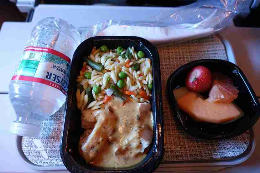 My chicken and rice dish on the outbound flight.
