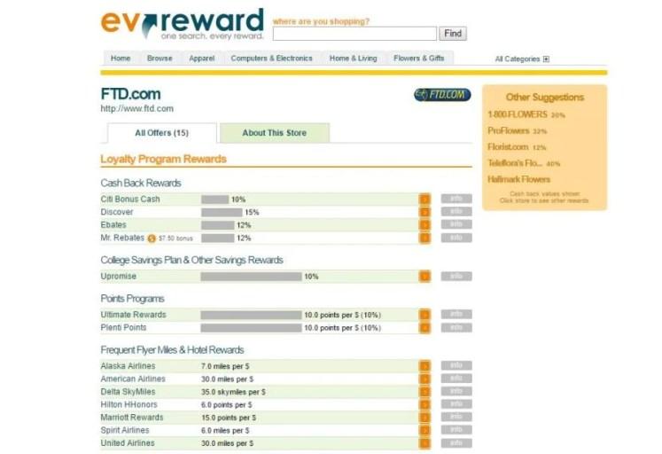 EVReward helps you find the best bonus by retailer.