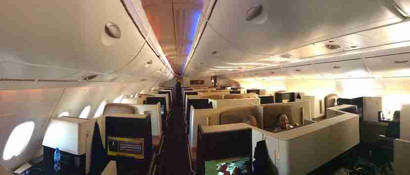 A shot of the front business-class cabin before we landed the next morning.